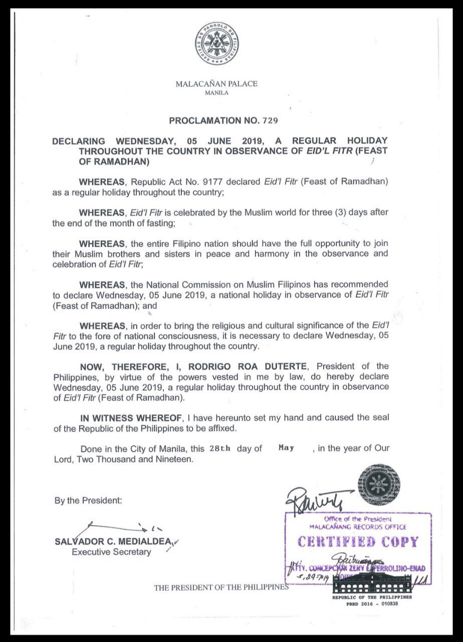 #WalangPasok: June 5, 2019 holiday for Eid'l Fitr in the Philippines