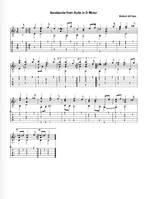 De Visee Robert - Sarabande from suite in d-minor partitura