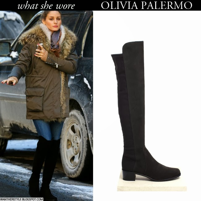 4f1eb70c4c0 Olivia Palermo in black suede over the knee Stuart Weitzman boots with fur  trim parka Want