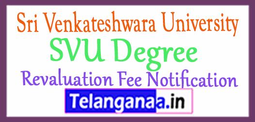 Sri Venkateshwara University SVU Degree Revaluation Fee Notification