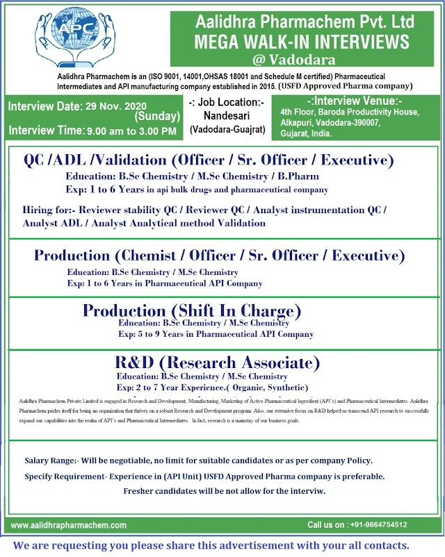 Aalidhra Pharmachem | Walk-in for Production/QC/Analytical Development/Validations on 29 Nov 2020