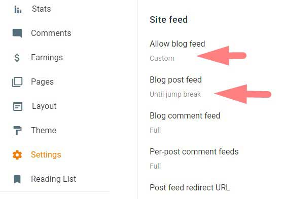 blogger site feed setting