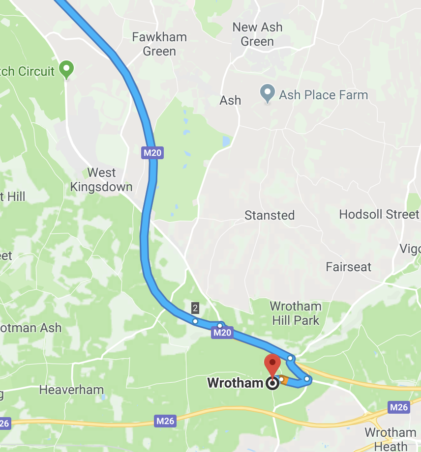 here is a map showing ash by wrotham and it is in kent but it is about 25 miles from the church of st mary magdalene bermondsey southwark