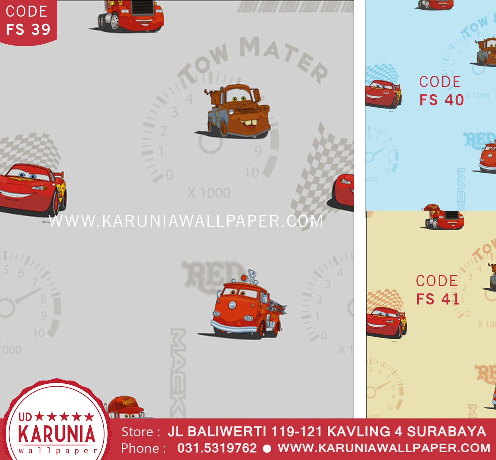 jual wallpaper kamar anak cars lightning mcqueen disney