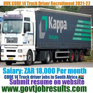 OVK Vrystaat CODE 14 Truck Driver Recruitment 2021-22