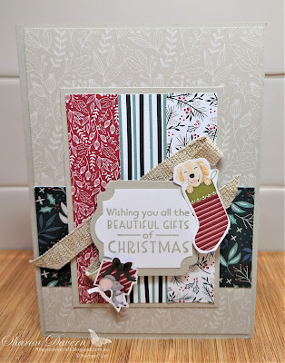 Rhapsody in craft, Sahara Sand,#rhapsodyincraft,#heartofchristmas2021,Christmas, Christmas cards, Inspired Thoughts, Tidings of Christmas DSP, Label Me Lovely Punch, Everyday Label Punch, Sweet Stocking DSP, Fine Art Ribbon, Stampin' Up!, Annual Catalogue 2021