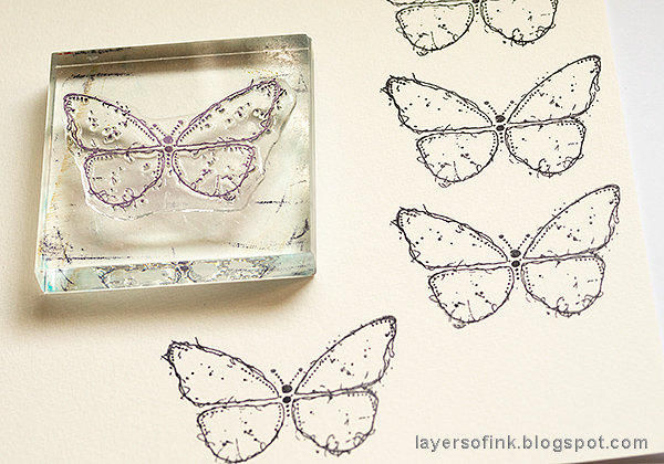 Layers of ink - Stencil and Scribble Sticks Background Tutorial by Anna-Karin Evaldsson. Stamp the butterfly.