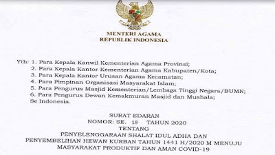 SE Penyelenggaran Sholat Idul Adha dan Penyembelihan Hewan Kurban Tahun 1441 H/2020 M