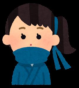 いろいろな表情の忍者のイラスト(女性・笑顔)