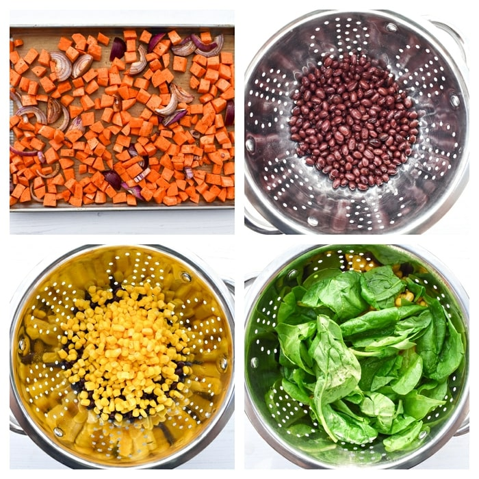 Making sweet potato enchiladas - step 2 - roast the veg, rinse the beans corn and spinach