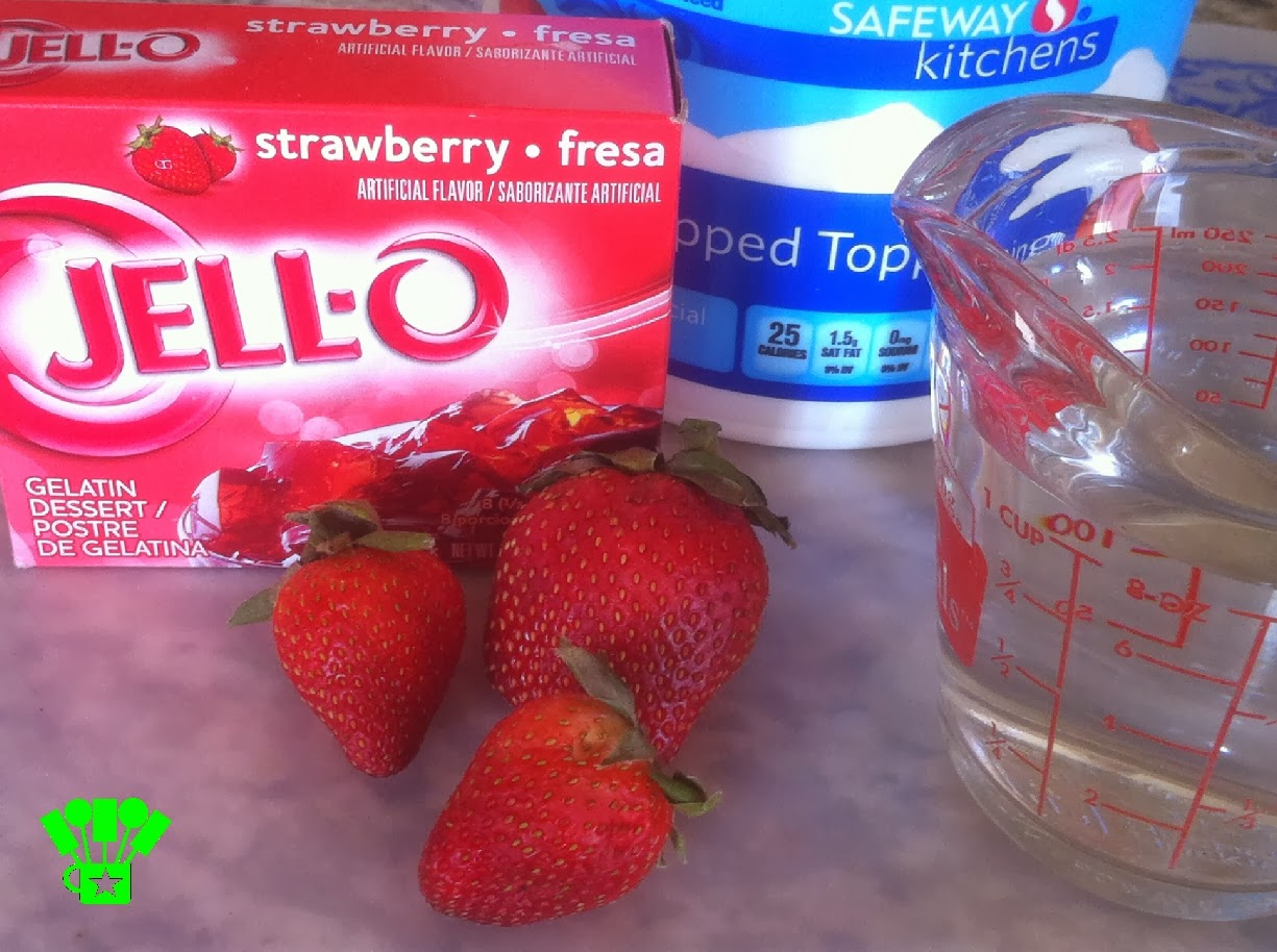 Strawberry Celebration Recipe ingredients: jello, strawberries, whipped topping, water