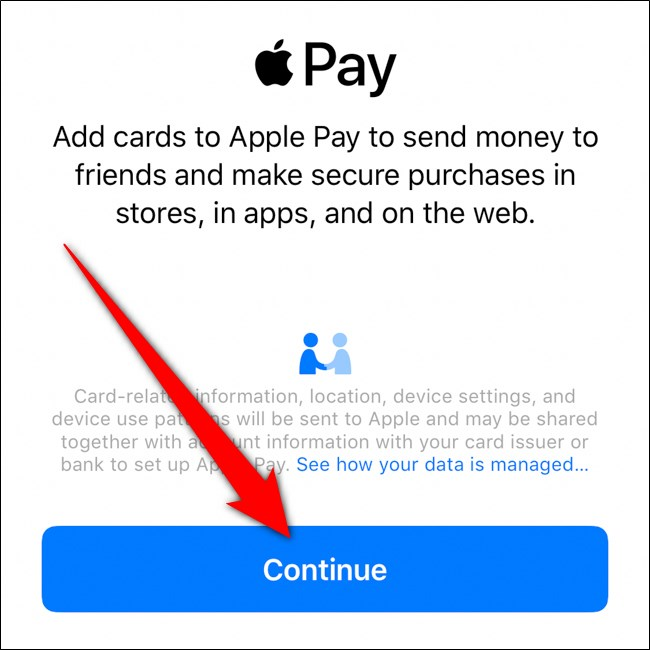 iPhone Apple Wallet انقر فوق متابعة