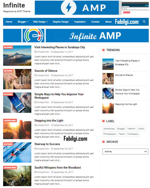 Blogger AMP Uyumlu Ücretsiz Responsive Tema İndir 2020 (Infinite AMP)