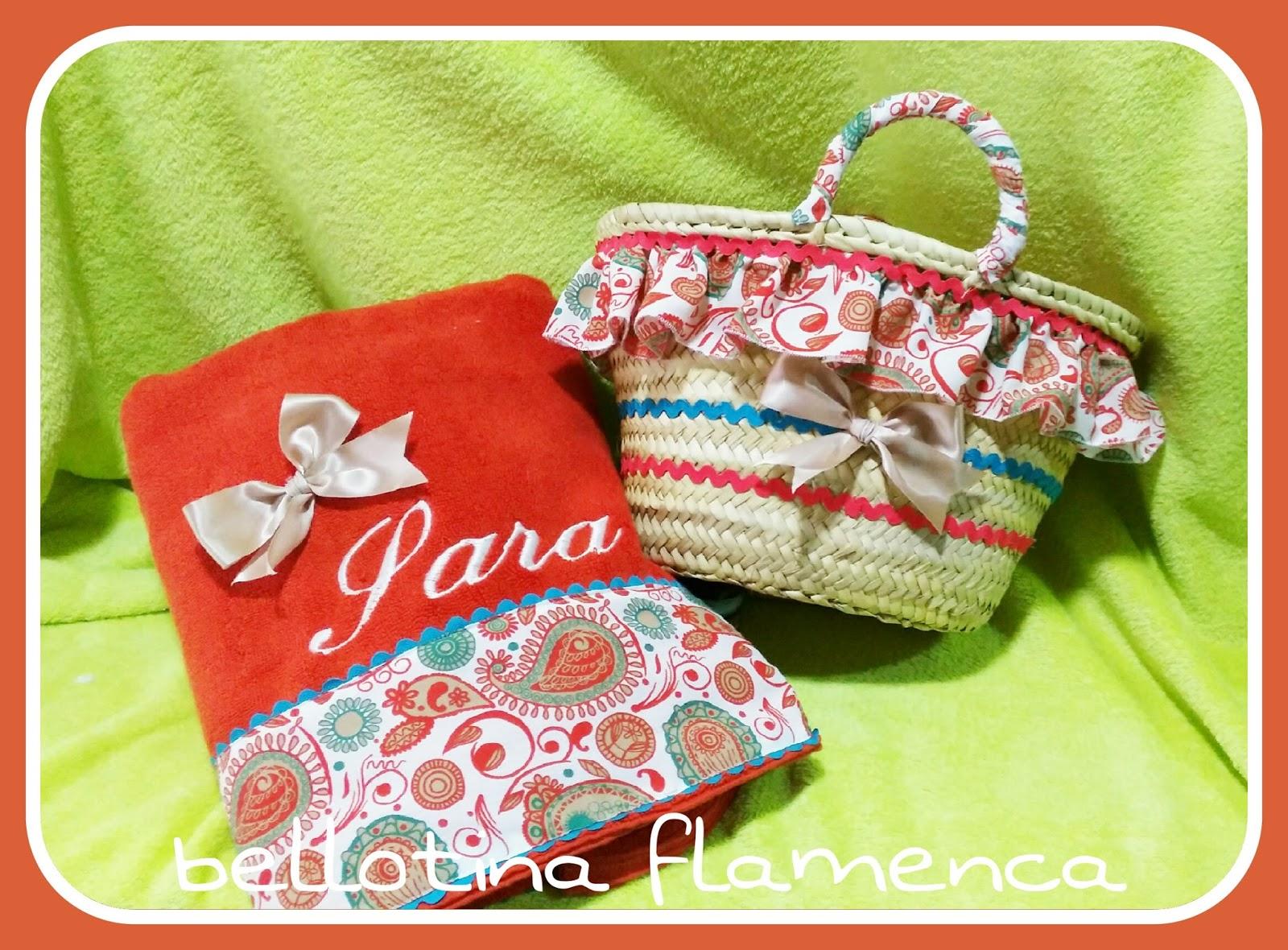 Bellotina flamenca cestas y toallas personalizadas - Cestas de playa personalizadas ...