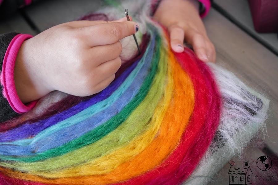 diy tapiz de lana tecnica niños