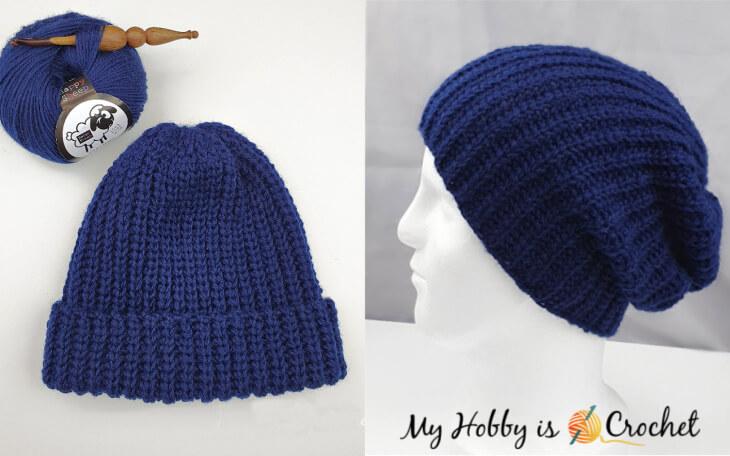 Fisherman's Rib Crochet Hat, knit look crochet rib hat