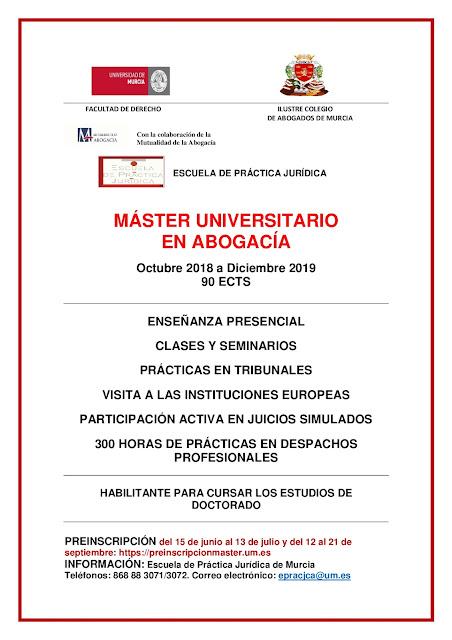 Ya está aquí el Master Universitario en Abogacía para el curso 2018/2019