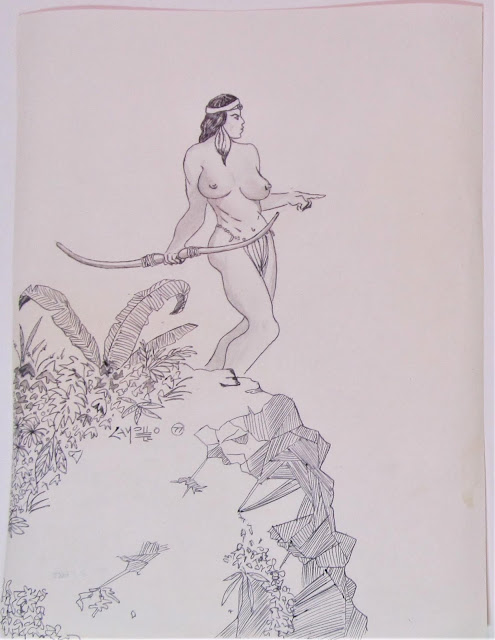 Frazetta style 1977 drawing by F. Lennox Campello