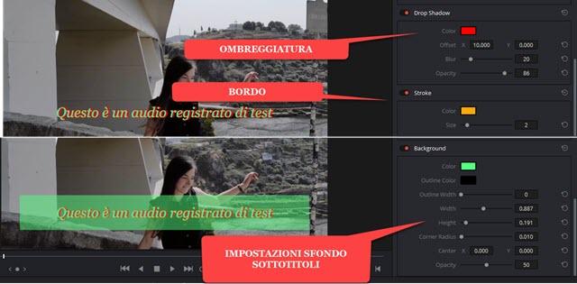omgreggiatura sfondo e bordo ai sottotitoli