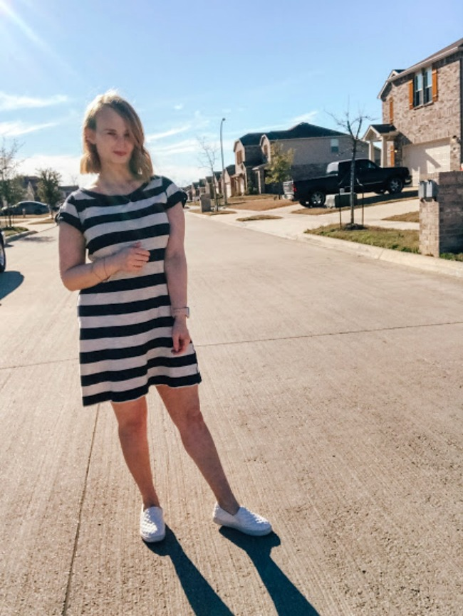 Tee Shirt Dress And Slip On Sneakers Outfit