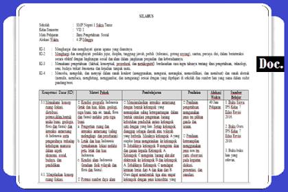 Silabus Pembelajaran [IPS] Kelas [VII/7] SMP/MTs K13 Revisi Terbaru [Lengkap]