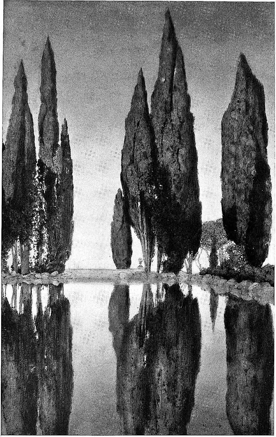 Maxfield Parrish 1904, trees at a still pond