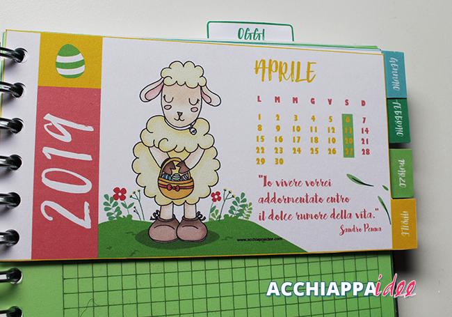 divisorio planner calendario con personaggio agnellino aprile 2019