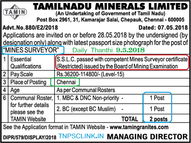 Mines Surveyor Vacancy in Chennai, Tamilnadu Minerals Ltd.