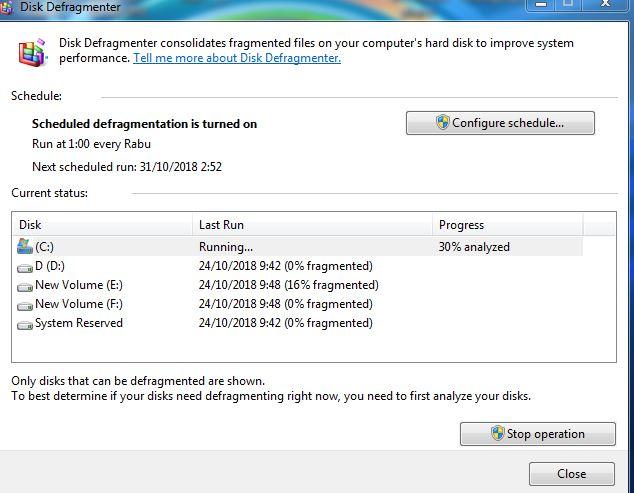 cara defragment windows 7