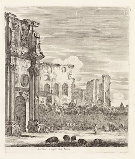 A scene in Rome typical of those drawn by Della Bella shows the Arch of Constantine