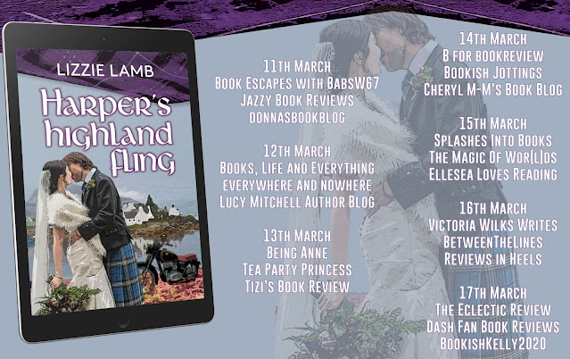 Harper's Highland Fling by Lizzie Lamb blog tour banner