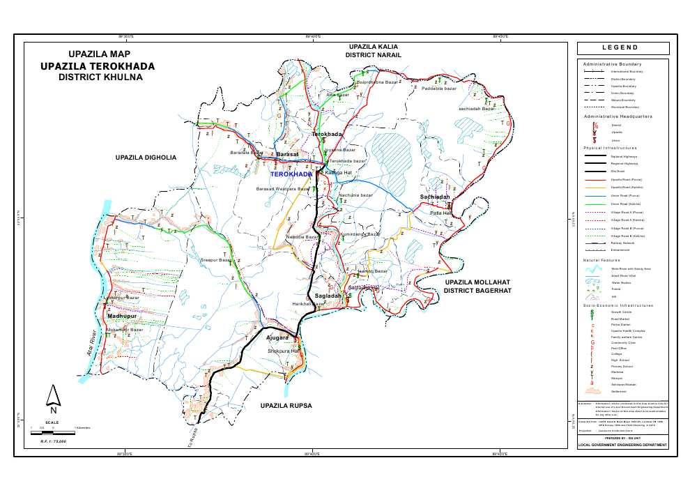 Terokhada Upazila Map Khulna District Bangladesh