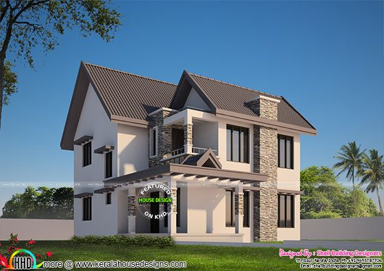 Modern sloped roof 3 bedroom home