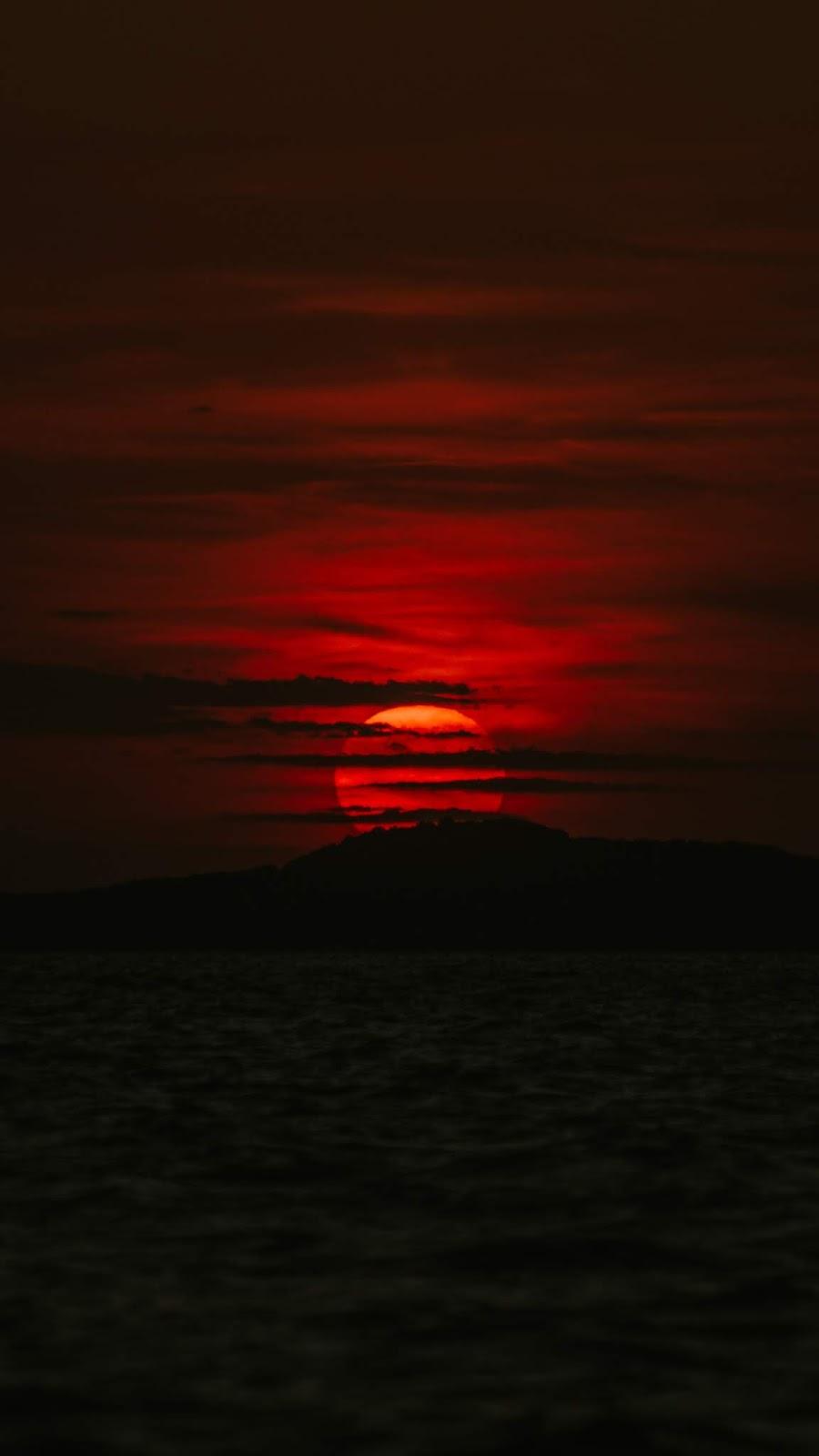 Red sunset in the dark night