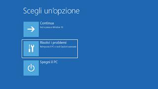 Modalità provvisoria Windows 10 - Opzioni
