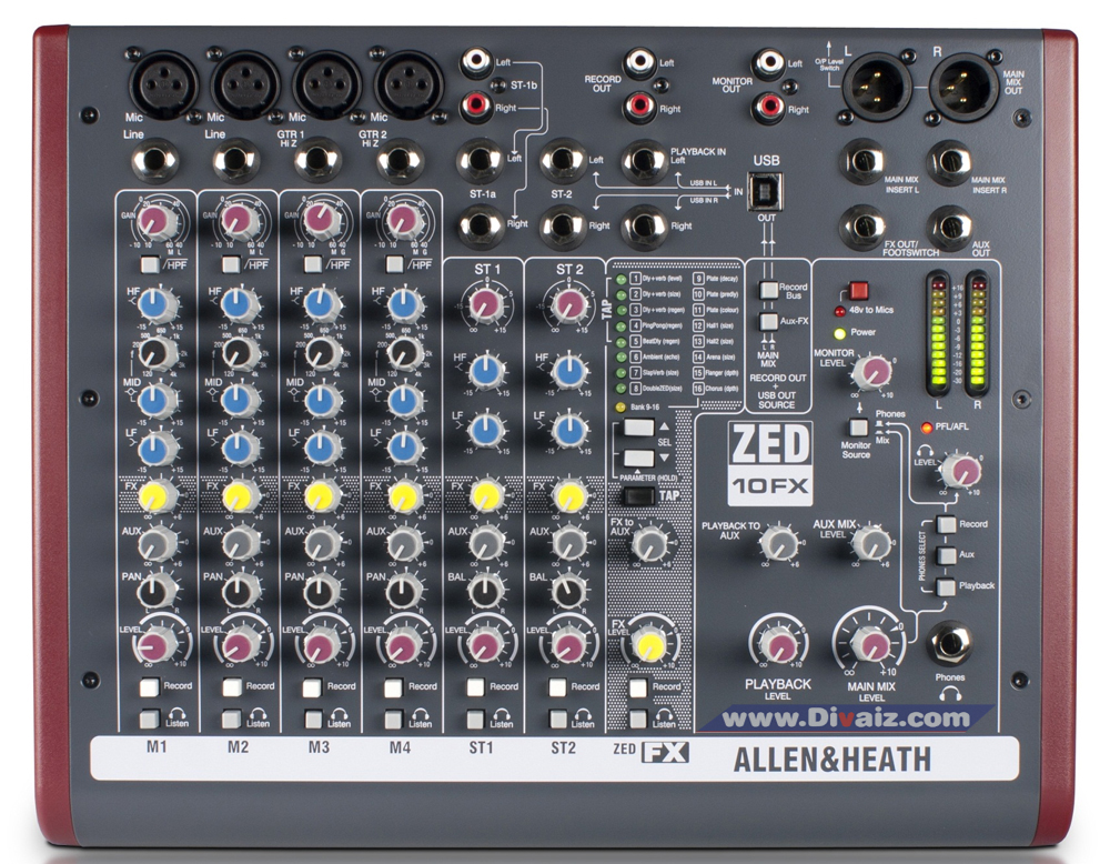 Mixer Allen & Heath ZED-10FX - www.divaizz.com