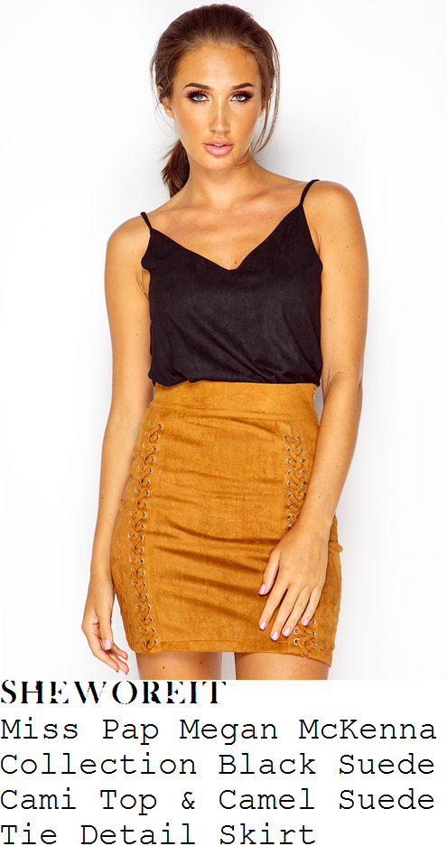 megan-mckenna-miss-pap-megan-mckenna-collection-black-sleeveless-spaghetti-strap-v-neck-texured-faux-suede-cami-top-and-camel-gold-lace-up-tie-detail-high-waisted-faux-suede-mini-skirt