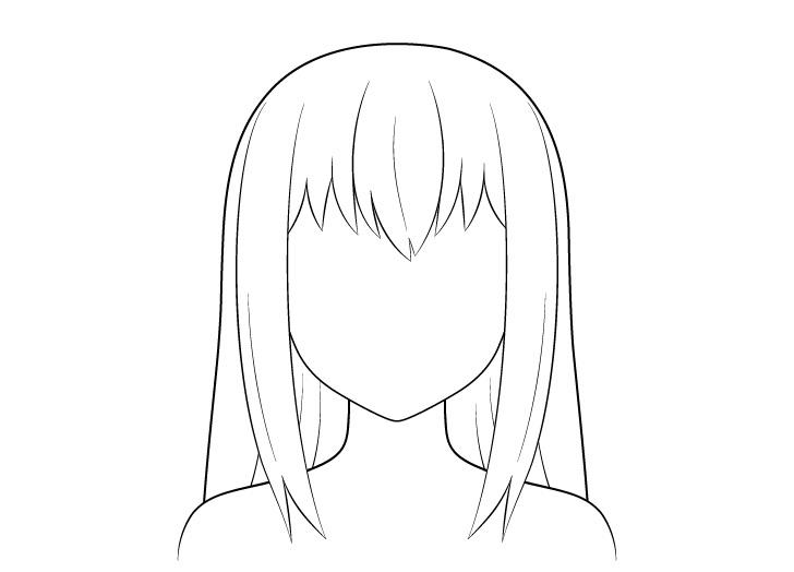 Anime gambar garis rambut panjang