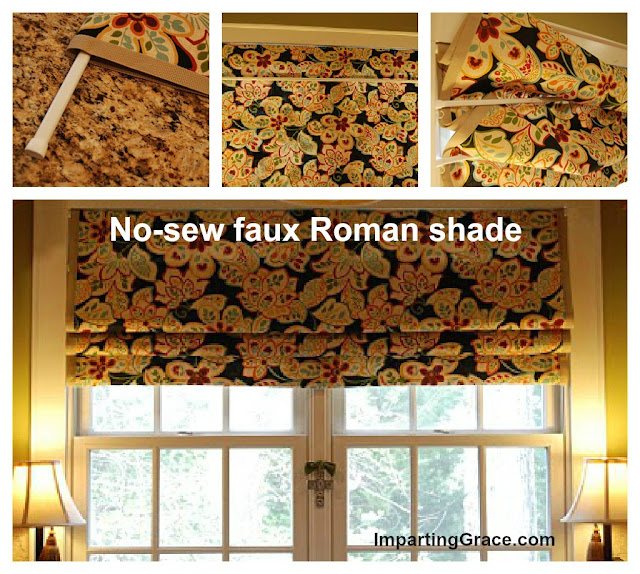 The original, detailed  tutorial for creating faux Roman shades using tension rods