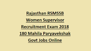 Rajasthan RSMSSB Women Supervisor Recruitment Exam Pattern and Syllabus Notification 2018 180 Mahila Paryavekshak Govt Jobs Online