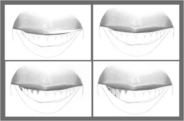 Karakalem ile ağız ve dişler nasıl çizilir adım 2