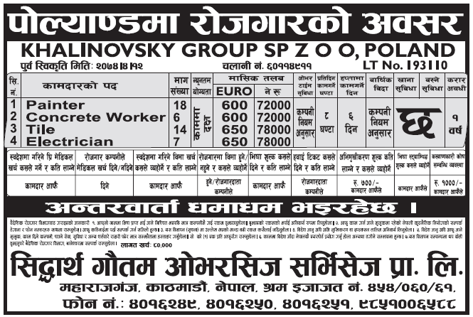 Jobs in Poland for Nepali, Salary Rs 78,000
