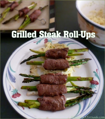 Grilled Steak Roll-Ups, thin slices of beef are stuffed with vegetables, rolled and grilled. Fast and flavorful, quick enough for the family, fancy enough for a dinner party. | Recipe developed by www.BakingInATornado.com | #grilling #dinner