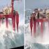 (Video) Pelantar Minyak Di Tengah Laut Dibadai Ombak Besar Ini Akan Buat Korang Kecut Perut!