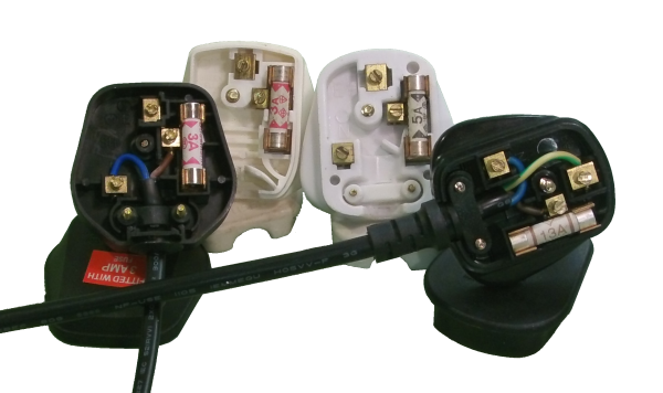 Selection of plugs showing internal fuse