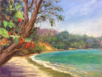 Soft pastel painting of a seashore by Manju Panchal