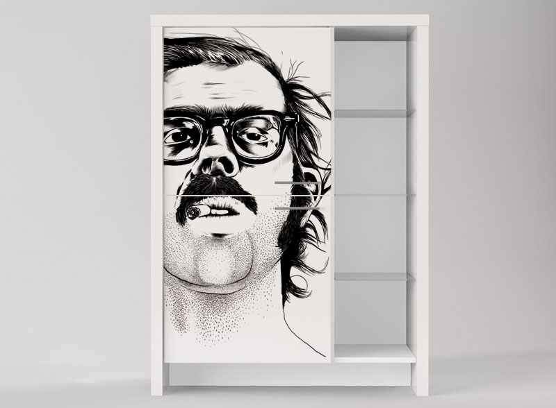 Chuck Close digitally printed storage cabinet