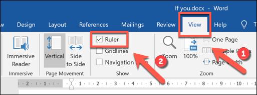 انقر فوق عرض> أداة قياس المسافات لتمكين شريط الشريط في Microsoft Word