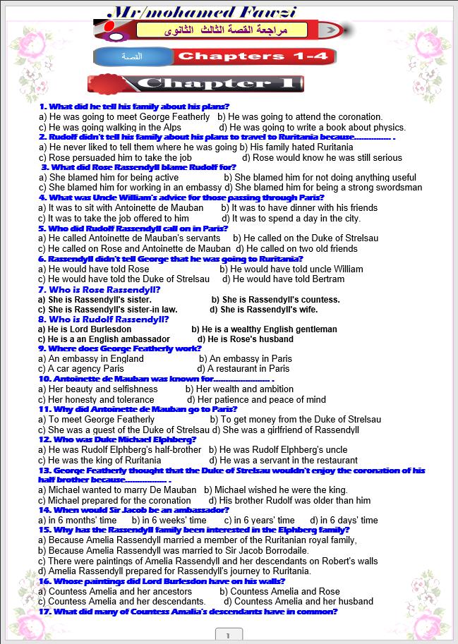 مراجعة نهائية على قصة سجين زندا وورد word اسئلة اختيارى الكلمات والأحداث(على النظام الحديث) الصف الثالث الثانوى2021 مستر محمد فوزى