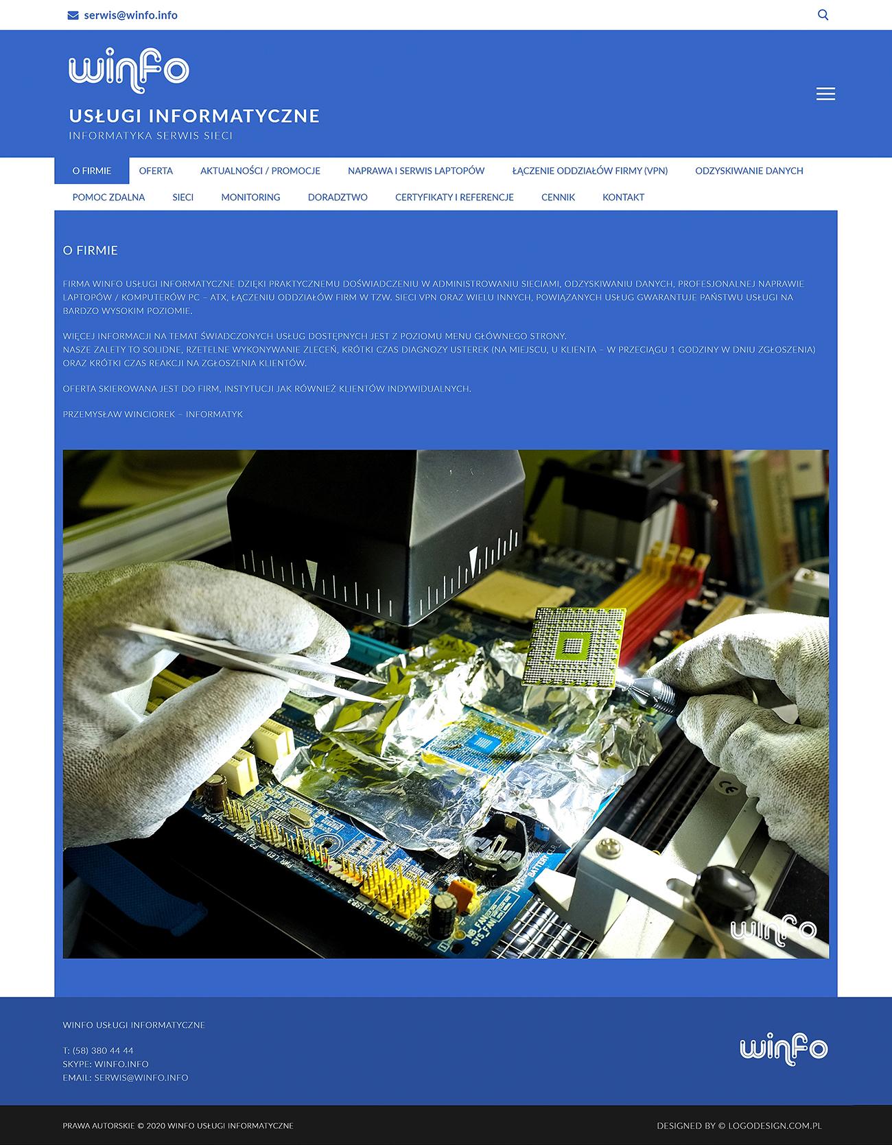 Projekt strony internetowej WINFO Usługi Informatyczne